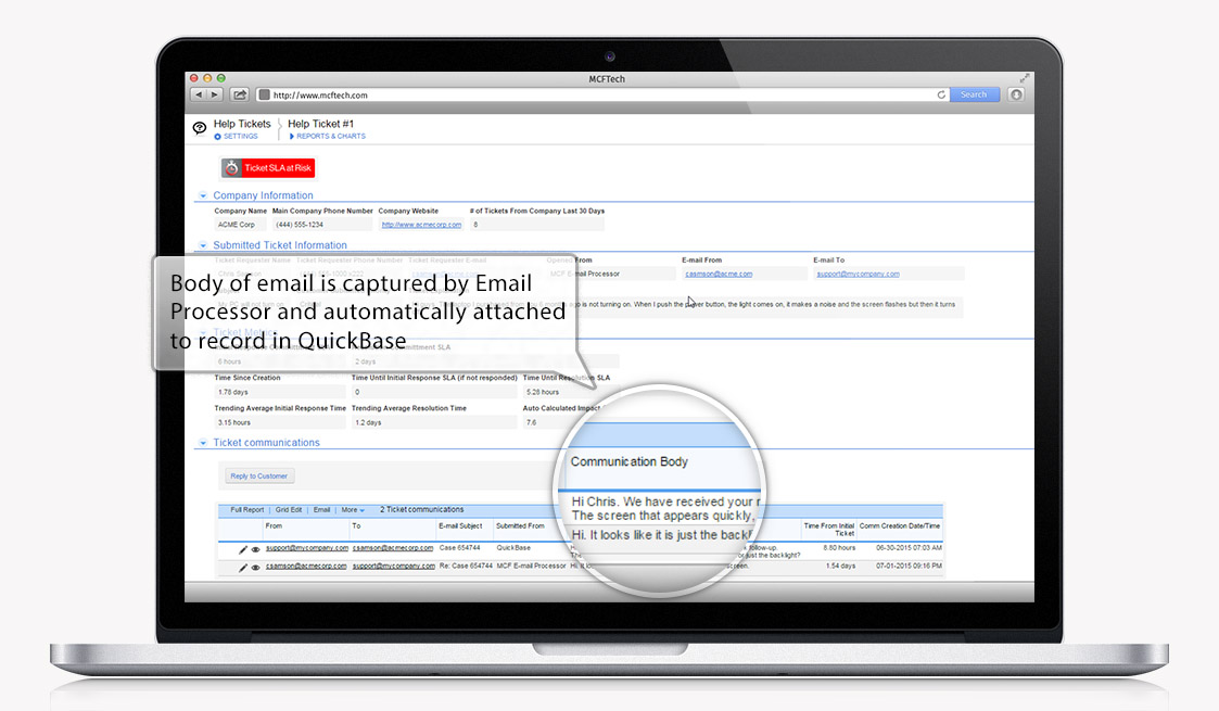 Automatically perform actions in Quick Base based on inbound emails