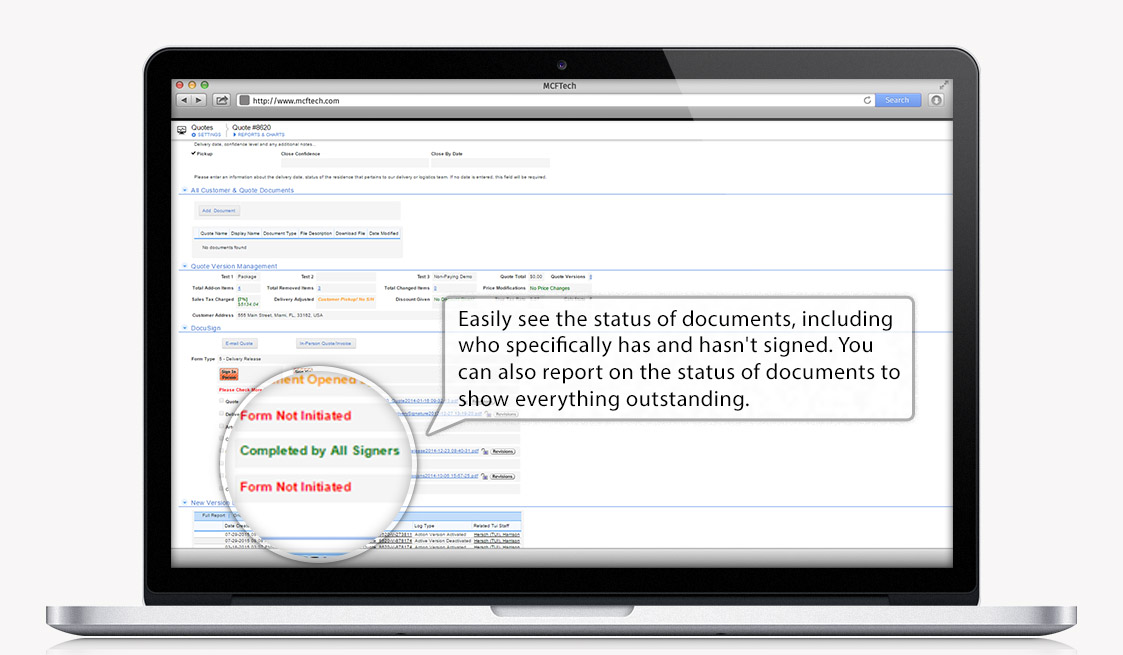With additional features from DocuSign, easily view the status of your documents